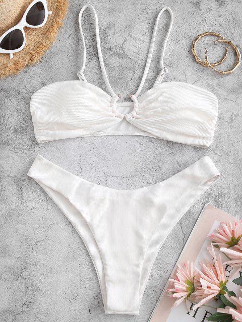 Costume da Bagno Bikini di ZAFUL a Costine con Stampa U - Bianca S Mobile