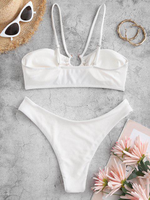 women ZAFUL Ribbed U-bar Brazilian Bikini Swimwear - WHITE M Mobile