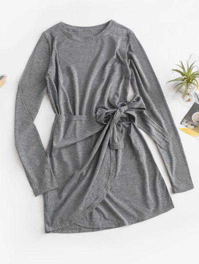 Overlap Knot Long Sleeve Tee Dress - Gray S