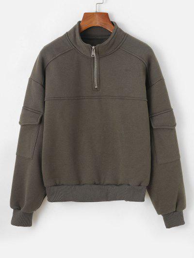Half Zip Flap Pockets Cargo Sweatshirt - Green M