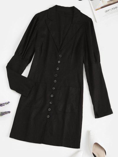 Lapel Button Loop Pockets Mini Dress - Black M