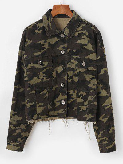Frayed Hem Camouflage Button Up Cargo Jacket - Deep Green L