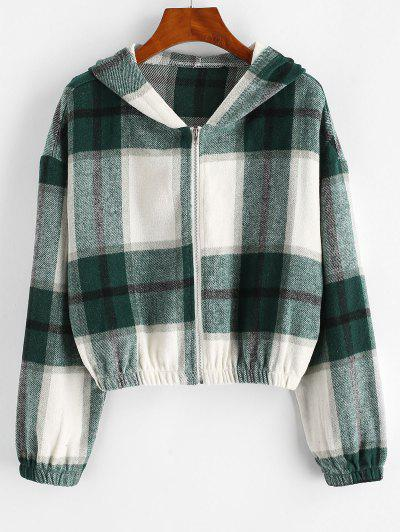 Plaid Fleece Zip Hooded Jacket - Light Green L