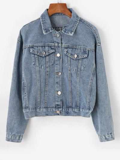 С блестками Вышивка На пуговицах Джинсовая Куртка - Светло-синий L
