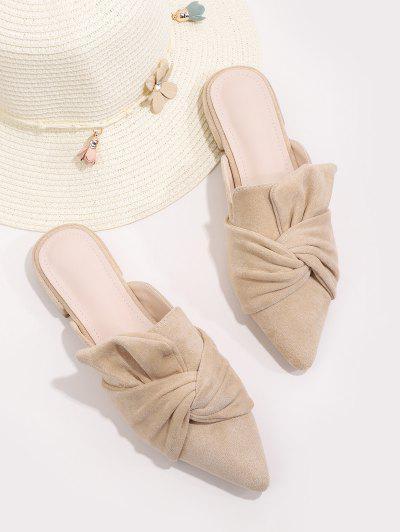 Front Knot Pointed Toe Half Flat Shoes - Vanilla Eu 38