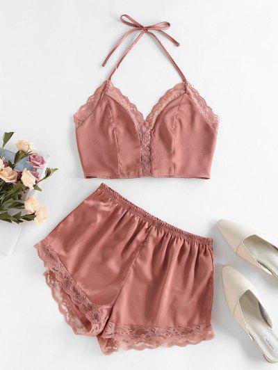 ZAFUL Lace Insert Halter Loose Pajama Shorts Set - Khaki Rose M