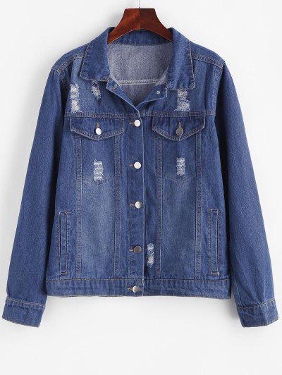 Jaqueta De Denim Antiga Com Bolso De Aba De Botão - Azul L