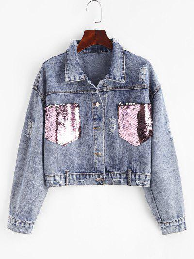 Ripped Sequined Pockets Cropped Denim Jacket - Blue M