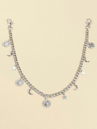 Sun Moon Star Pendant Trousers Chain - Silver