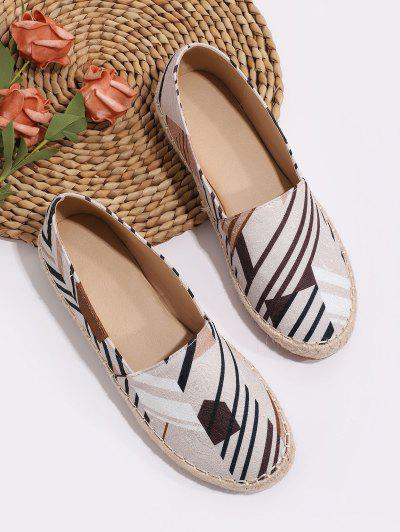 Chaussures Mocassins Espadrilles Plates à Rayure Inclinée - Multi-a Eu 37