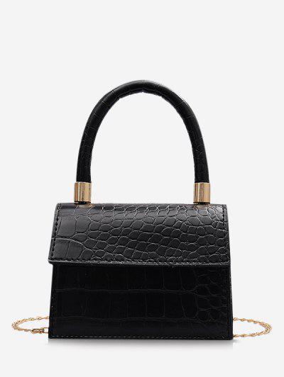 Animal Embossed Mini Square Tote Bag - Black