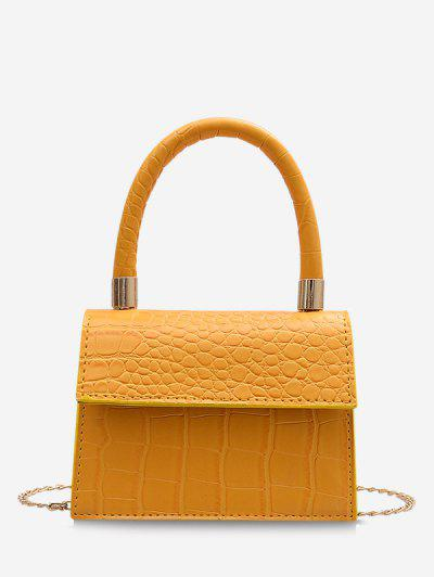 Animal Embossed Mini Square Tote Bag - Yellow