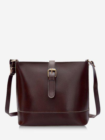 Retro Buckle Square Crossbody Bag - Deep Coffee