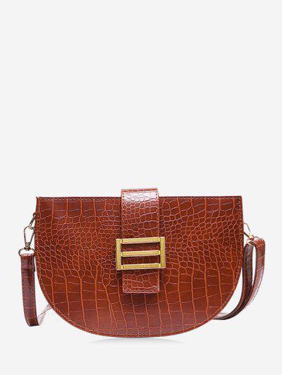 Textured Crossbody Saddle Bag - Coffee