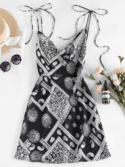 ZAFUL Cowl Front Ethnic Print Backless Mini Dress - Black S