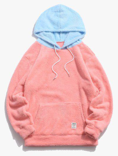 Colorblock Splicing Drawstring Fluffy Hoodie - Light Pink M