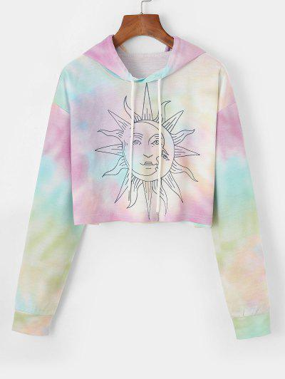 Cropped Sun Graphic Tie Dye Hoodie - Light Purple S