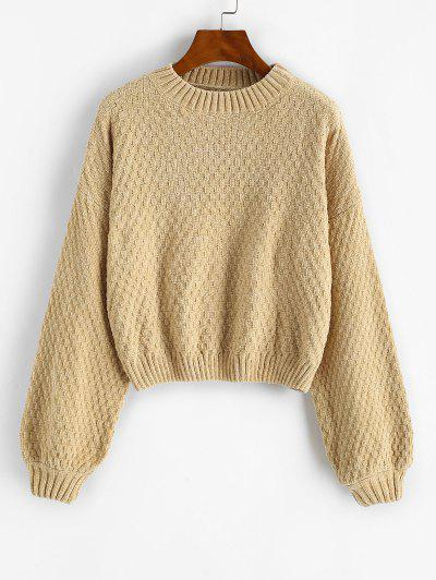Drop Shoulder Lantern Sleeve Chenille Sweater - Light Coffee