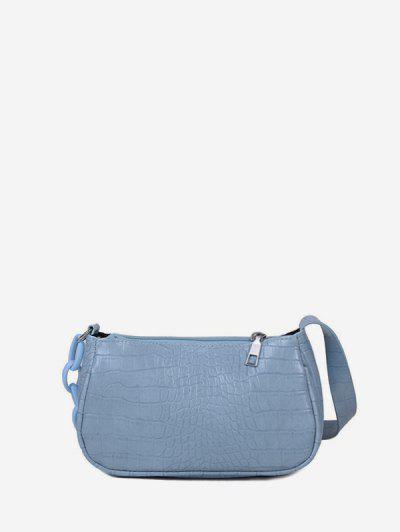 Bolsa De Ombro Costura De Couro Lenços Texturizados - Azul Claro
