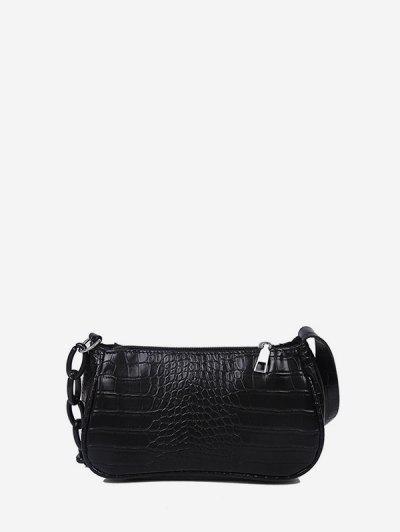 Animal Embossed Leather Underarm Shoulder Bag - Black