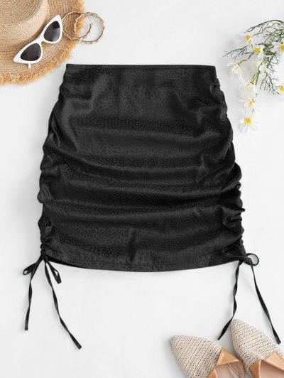 Side Cinched Jacquard Satin Skirt - Black S