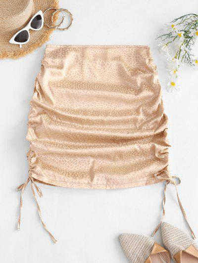 Side Cinched Jacquard Satin Skirt - Light Coffee S