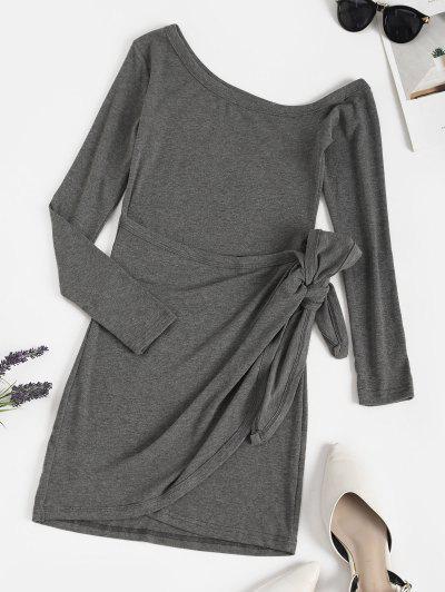 Skew Collar Tie Waist Long Sleeve Bodycon Dress - Gray M