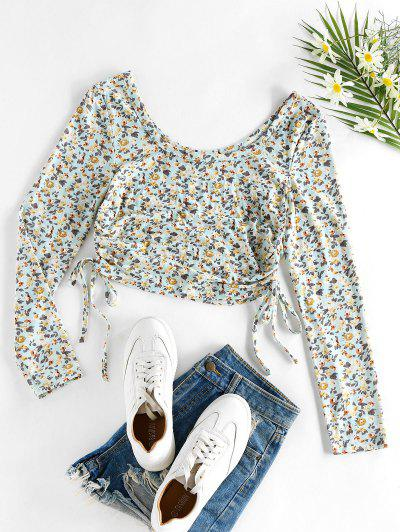 ZAFUL Ditsy Print Cinched Cropped T Shirt - Light Blue S