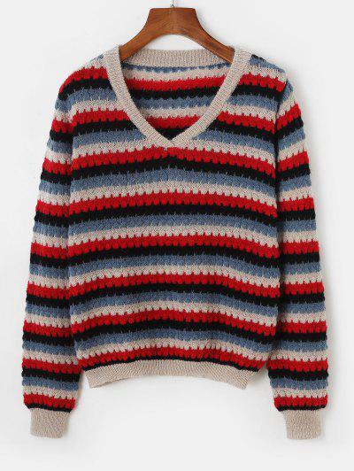 Pullover V Neck Striped Sweater - Blue