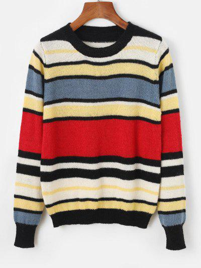 Crew Neck Colorblock Stripes Sweater - Red