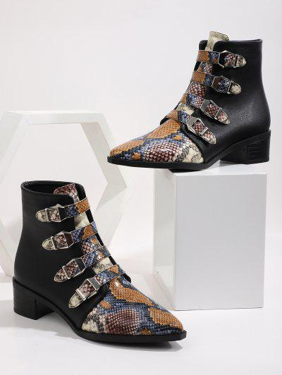 Multi-color Snake Print Pointed Toe Ankle Boots - Multi-a Eu 40