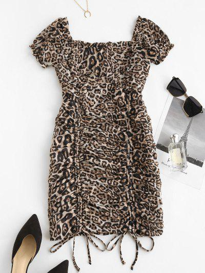 Leopard Milkmaid Cinched Ruched Mesh Bodycon Dress - Leopard M