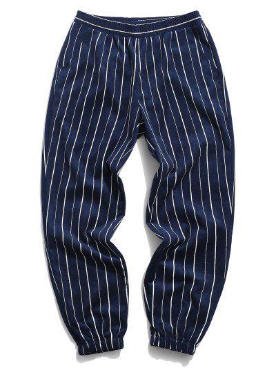 Striped Pattern Corduroy Beam Feet Pants - Deep Blue 3xl