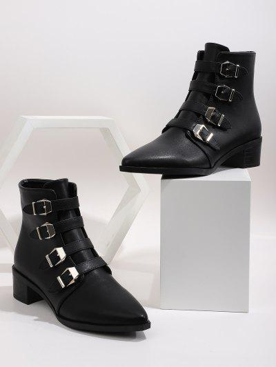 Plain Buckle Strap Pointed Toe Ankle Boots - Black Eu 39