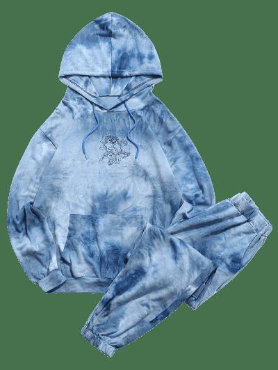Angel Tie Dye Print Hoodie And Pants Two Piece Set