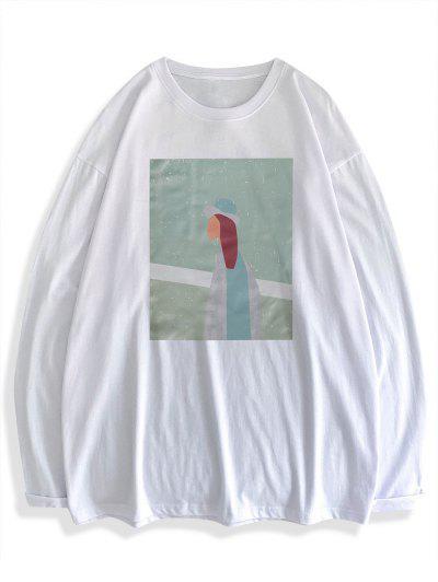 Camiseta Básica De Manga Comprida Com Estampa De Figura - Branco Xl