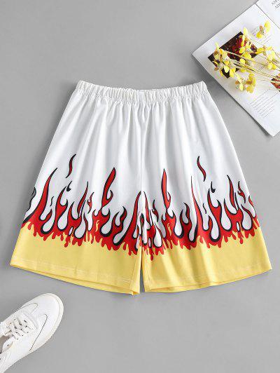 ZAFUL Short Flamme Imprimé à Taille Haute - Blanc S