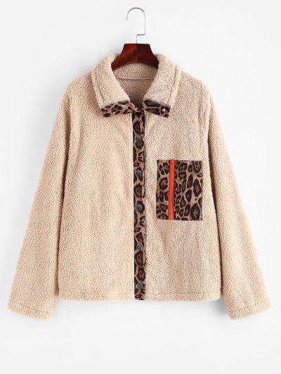 Button Up Zippered Leopard Panel Teddy Jacket - Light Coffee M