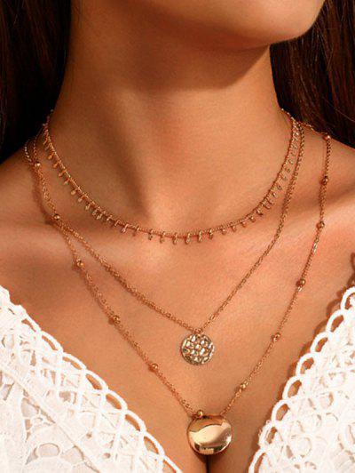 Colar Em Camadas Com Pingente De Diamante Artificial - Dourado