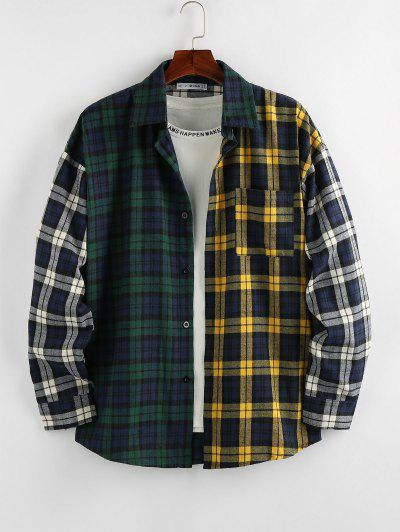 ZAFUL Colorblock Plaid Patchwork Pocket Shirt - Multi-b S