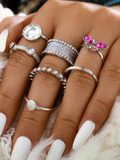 7 Piece Rhinestone Butterfly Finger Rings Set - Silver