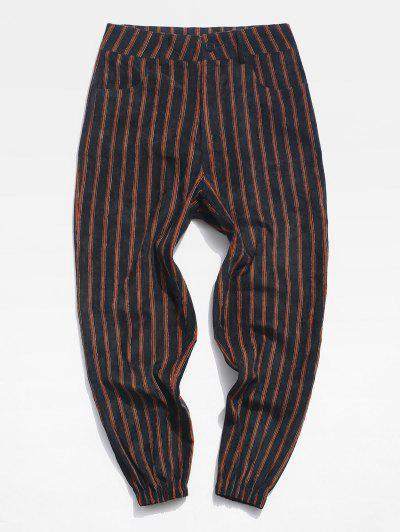 Striped Pattern Zip Fly Beam Feet Pants - Black Xl