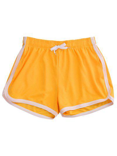 Pinhole Mesh Leisure Dolphin Shorts - Yellow M