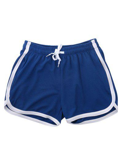 Pinhole Mesh Leisure Dolphin Shorts - Blue S