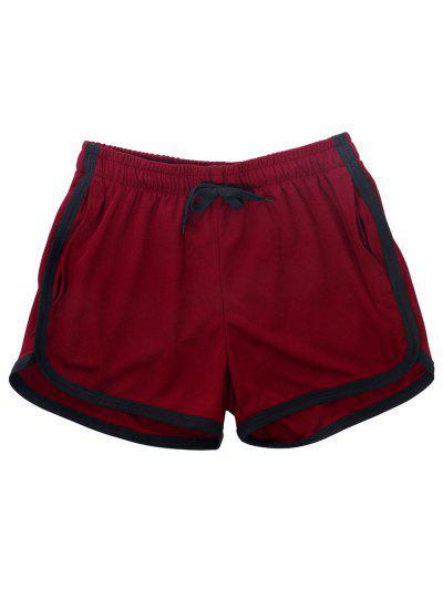 Pinhole Mesh Leisure Dolphin Shorts - Deep Red Xs
