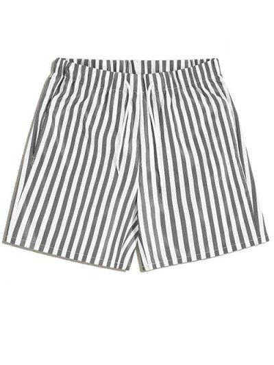Vertical Striped Leisure Home Shorts - Gray 2xl