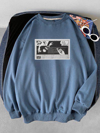 Rippen Strick Trim Graphik Druck Sweatshirt - Seiden Blau L