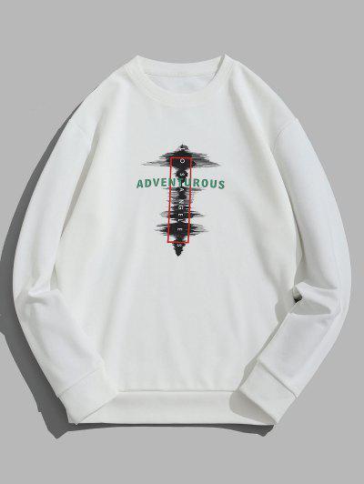 Adventurous Geometric Print Crew Neck Sweatshirt - White Xs