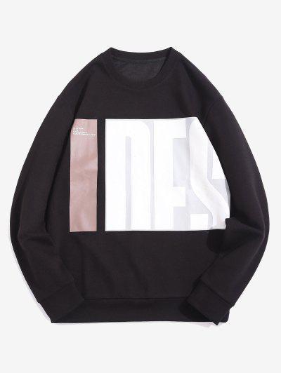 Sweat-shirt Motif De Lettre à Col Rond - Noir L