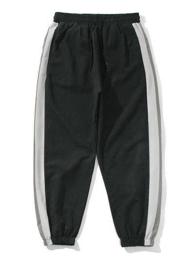 Colorblock Panel Elastic Waist Beam Feet Pants - Black 2xl
